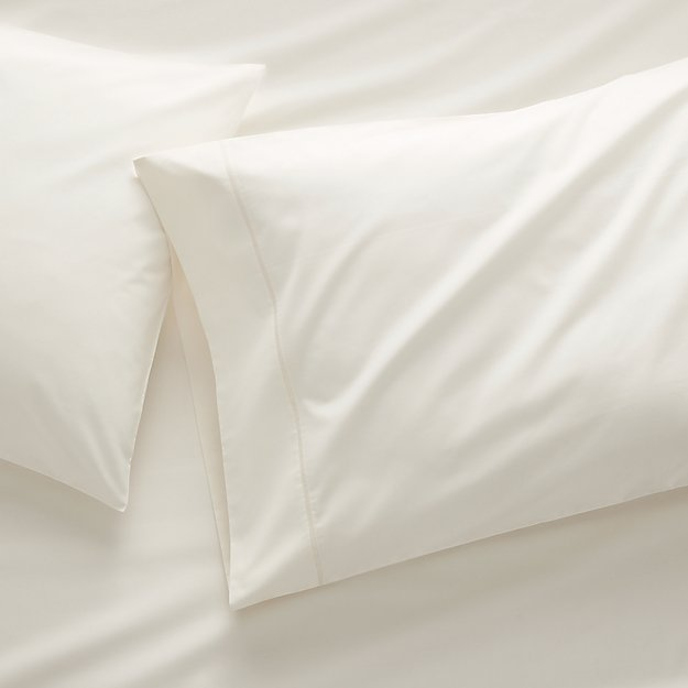 400 Thread Count Percale Ecru Pillow Cases Standard, Set of 2 - Image 1 of 7