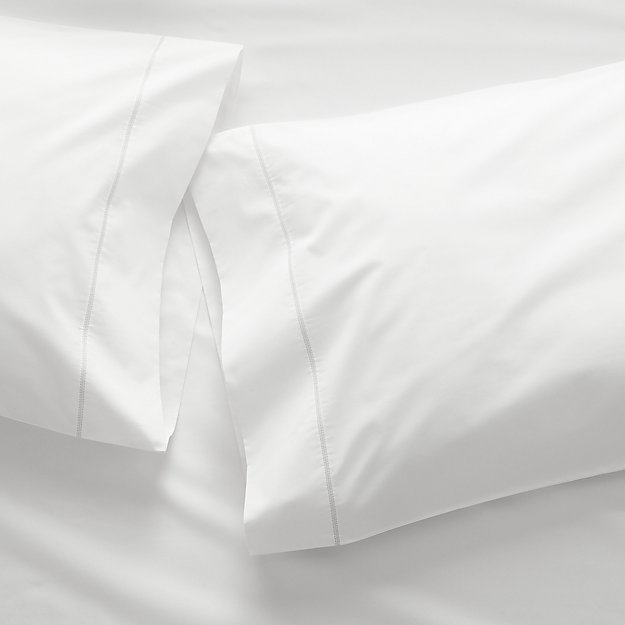 400 Thread Count Percale White Pillow Cases Standard, Set of 2 - Image 1 of 13
