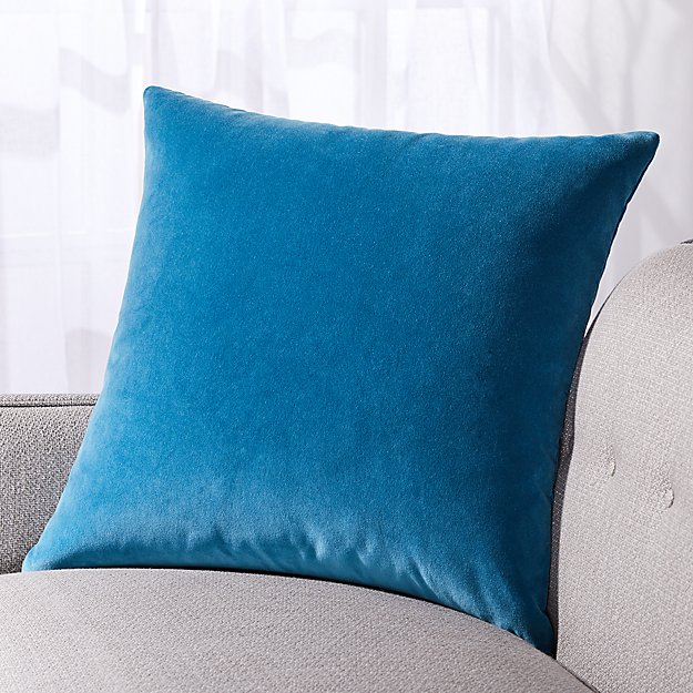 "Pernell Velvet Blue Pillow 23"" - Image 1 of 4"