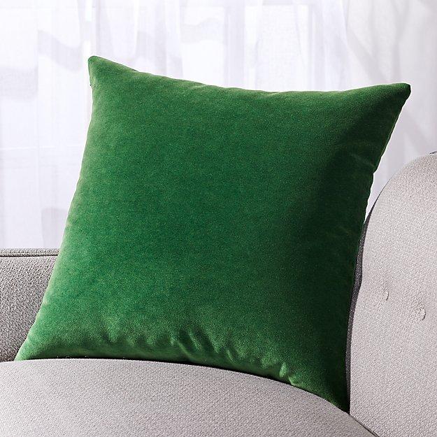 """Pernell Velvet Green Pillow 23"""" - Image 1 of 3"""