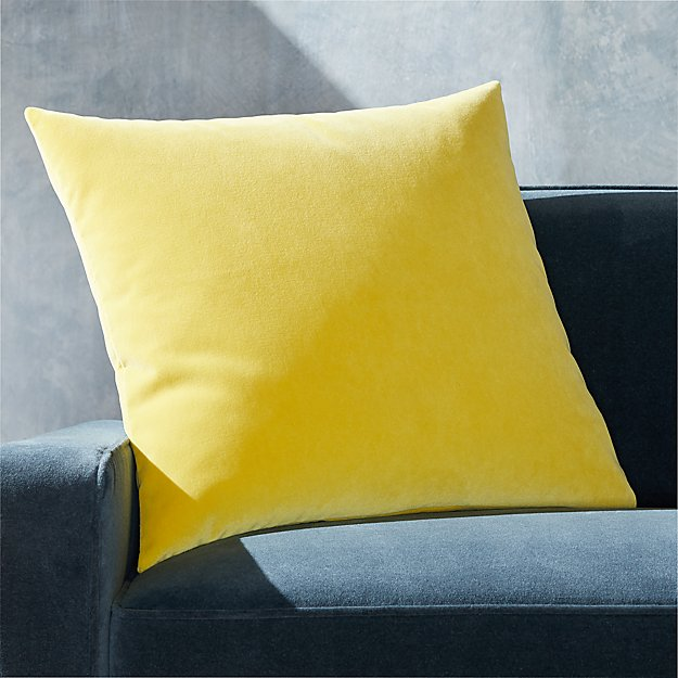 "Pernell Velvet Yellow Pillow 23"" - Image 1 of 3"