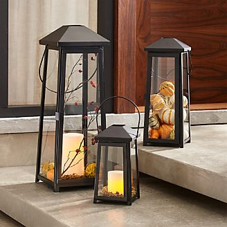 Outdoor lighting string lights and lanterns crate and barrel petaluma black metal lanterns aloadofball Choice Image