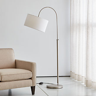 Petite Brushed Nickel Adjustable Arc Floor Lamp