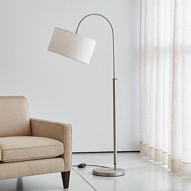 Petite Brushed Nickel Adjustable Arc Floor Lamp - Image 1 of 8