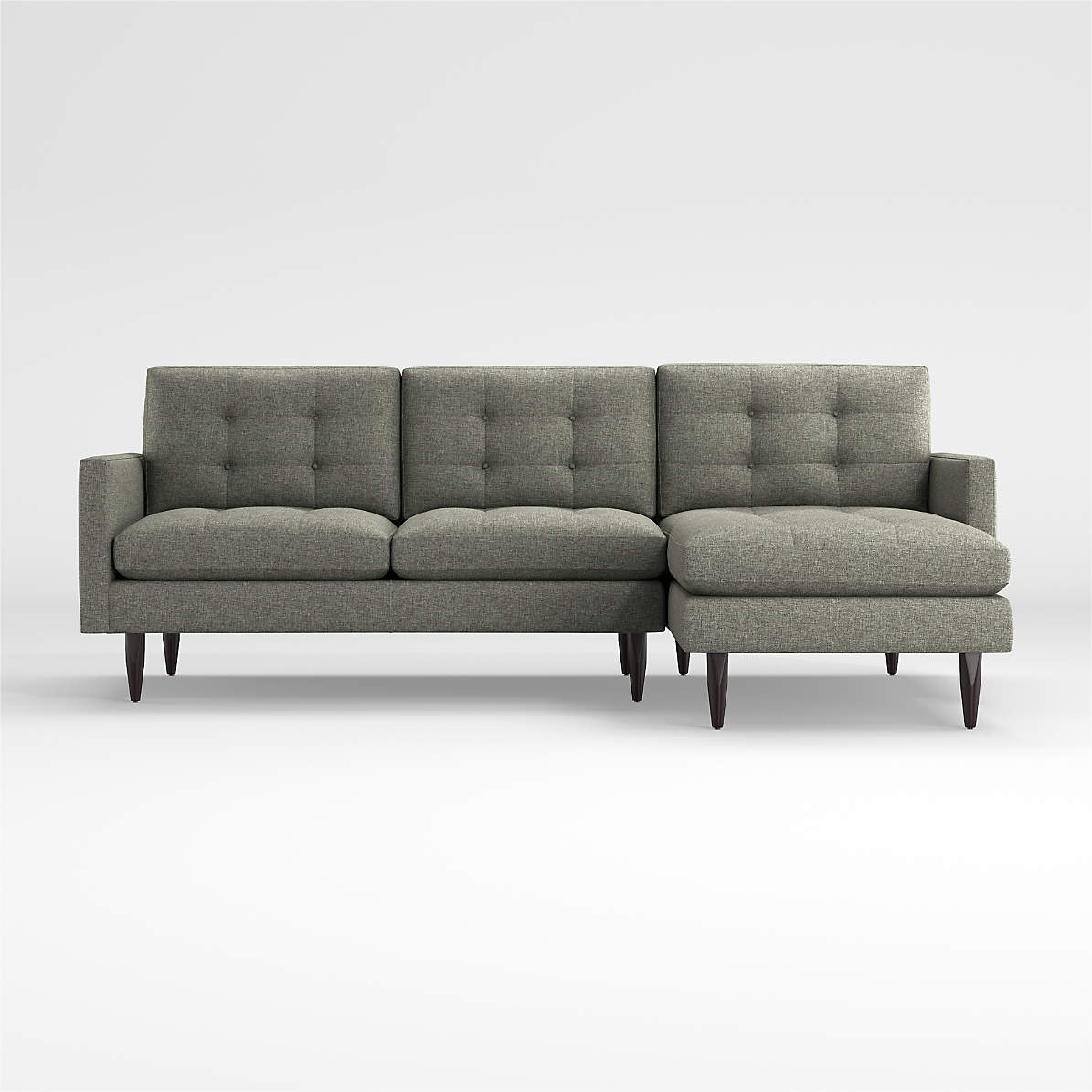 Image of: Petrie 2 Piece Felt Grey Sectional With Chaise Reviews Crate And Barrel