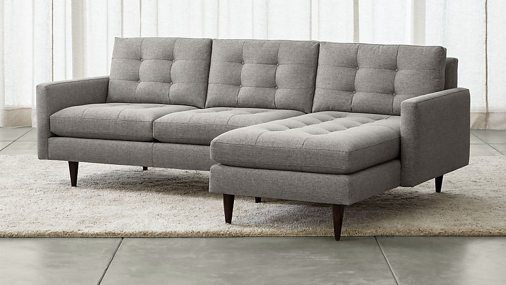 petrie 2 piece right arm chaise midcentury sectional sofa reviews crate and barrel. Black Bedroom Furniture Sets. Home Design Ideas
