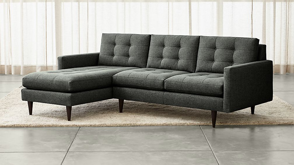 Petrie 2 piece left arm chaise sectional sofa crate and for 2 arm chaise lounge