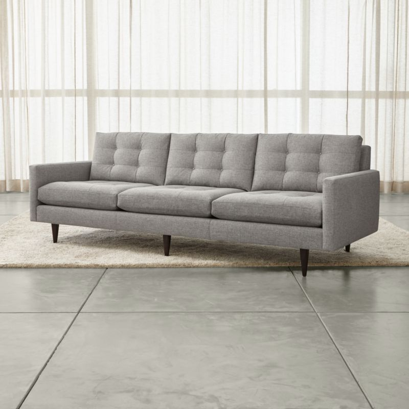 petrie long grey modern tufted sofa crate and barrel. Black Bedroom Furniture Sets. Home Design Ideas