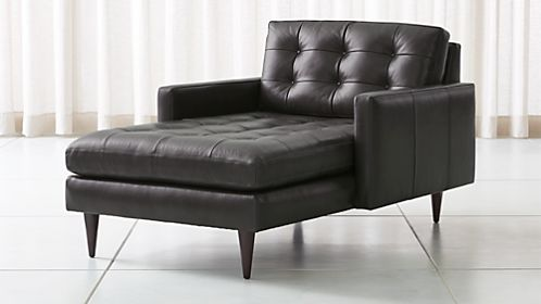 petrie leather midcentury chaise lounge