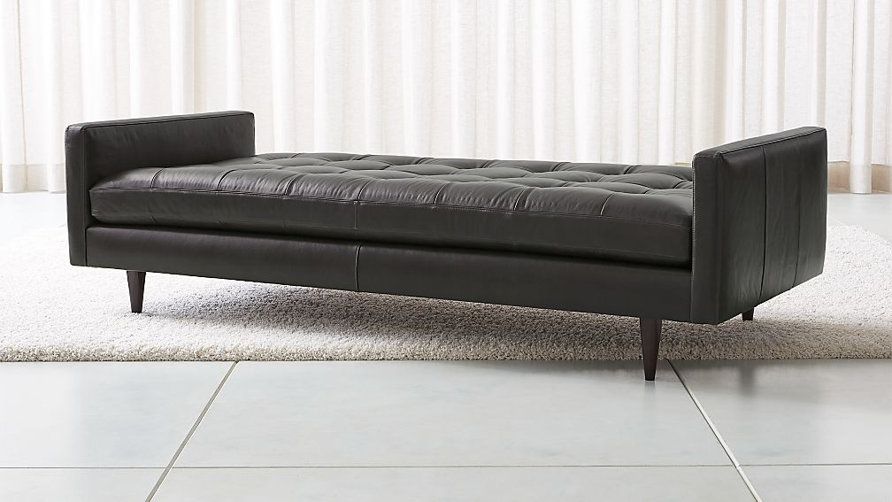Petrie Leather Midcentury Daybed - Image 1 of 4