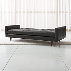 Petrie Leather Midcentury Daybed