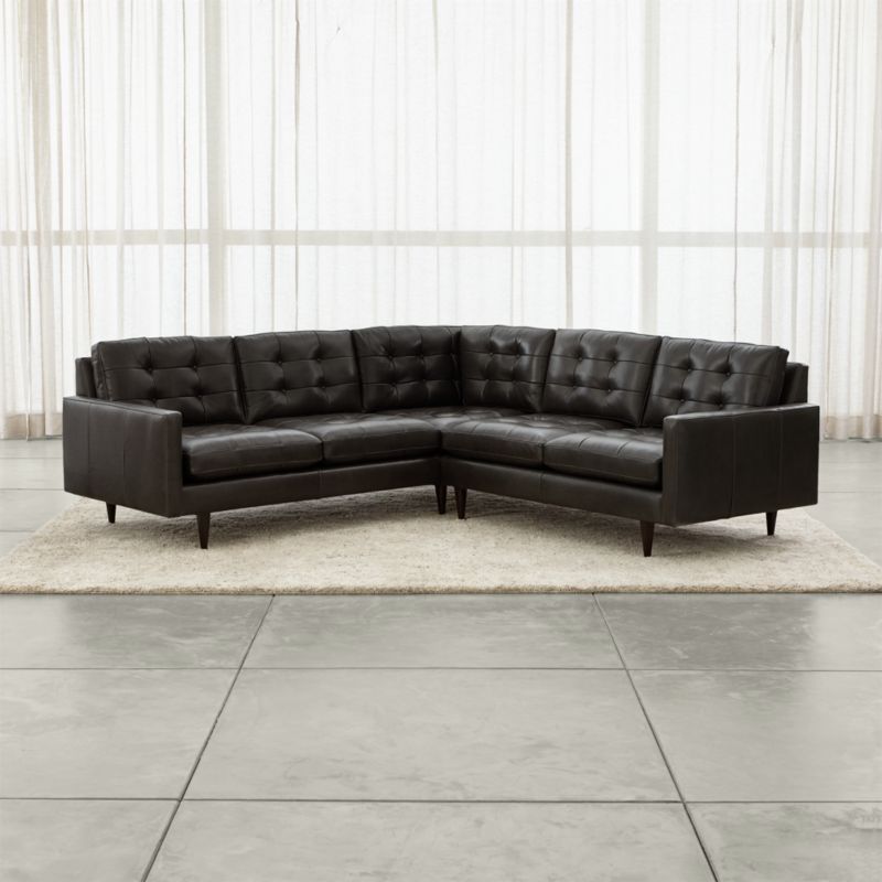 Petrie Leather 2 Piece Corner Sectional Sofa Crate And Barrel