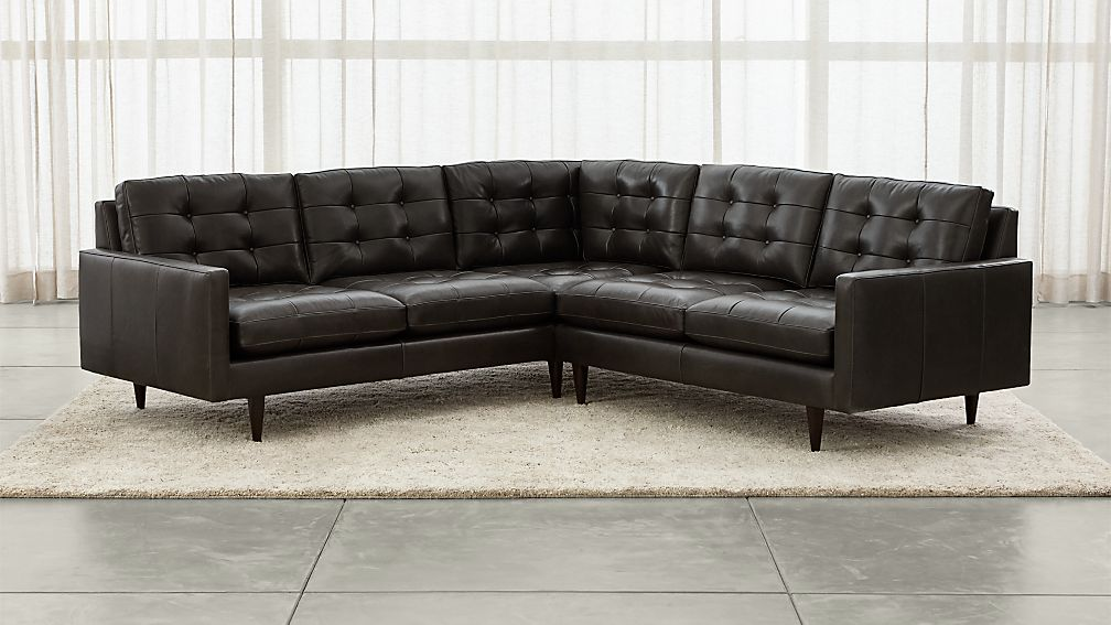 Petrie Leather 2-Piece Corner Midcentury Sectional Sofa ...