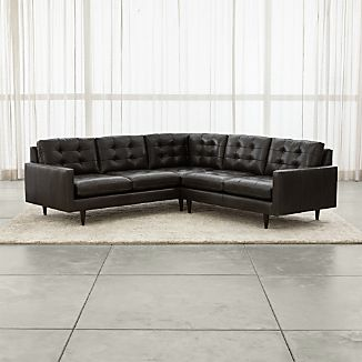 Petrie Leather 2 Piece Corner Midcentury Sectional Sofa