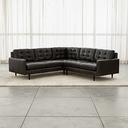 Petrie Leather 2-Piece Corner Midcentury Sectional Sofa