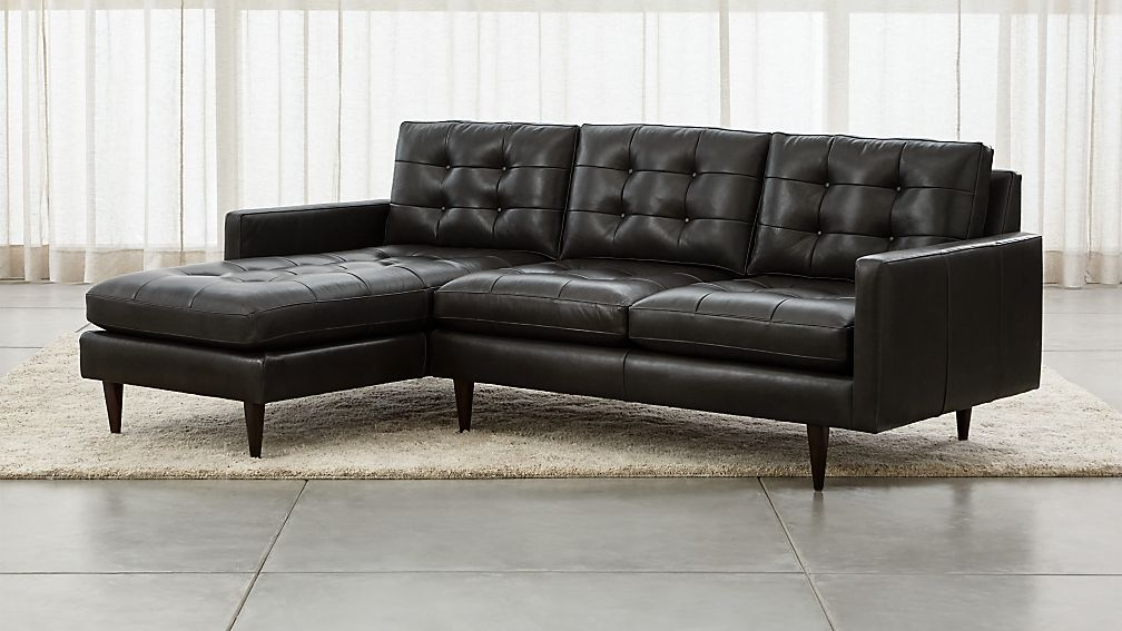 Petrie Leather 2 Piece Left Arm Chaise Sectional Sofa Crate And : chaise sofa leather - Sectionals, Sofas & Couches