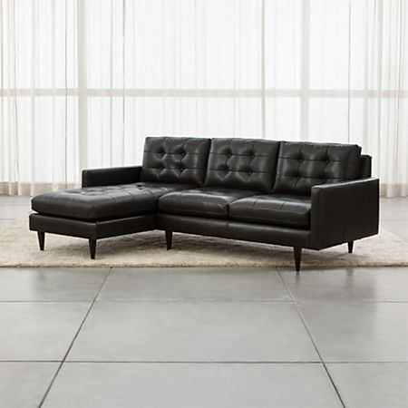 Petrie Leather 2-Piece Left Arm Chaise Midcentury Sectional Sofa + Reviews  | Crate and Barrel
