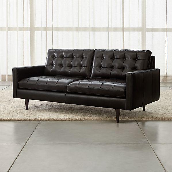 Petrie Leather Midcentury Apartment Sofa