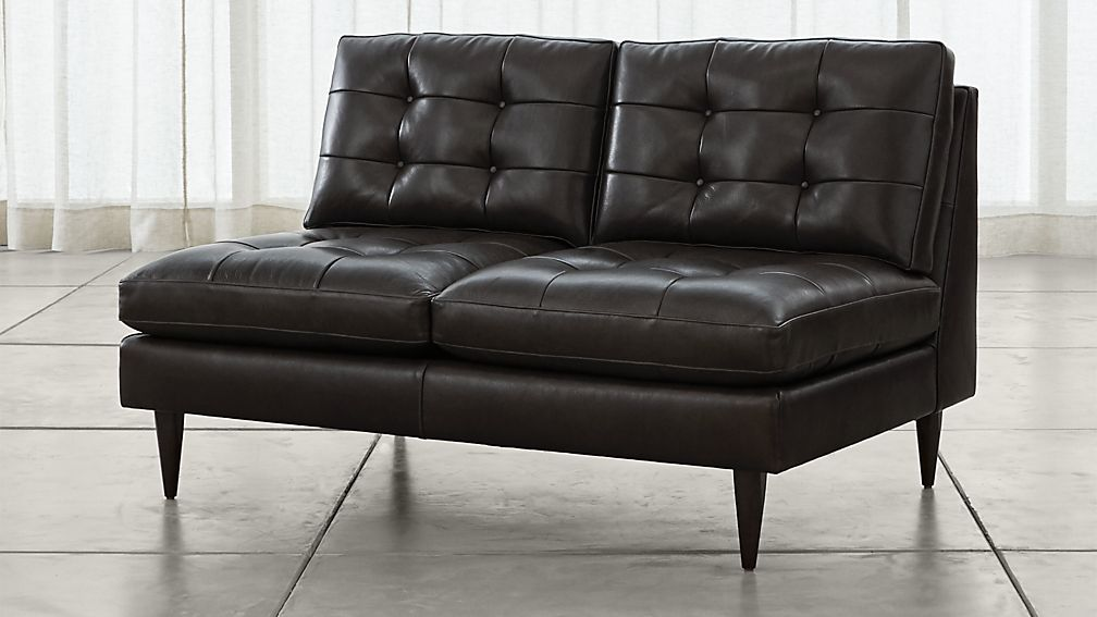 Petrie Armless Tufted Leather Loveseat Crate And Barrel