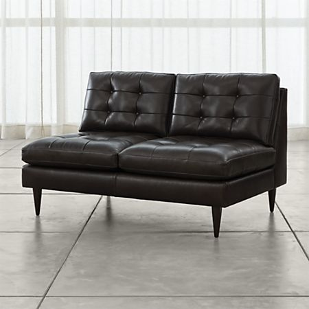 Admirable Petrie Armless Tufted Leather Loveseat Reviews Crate And Barrel Download Free Architecture Designs Scobabritishbridgeorg