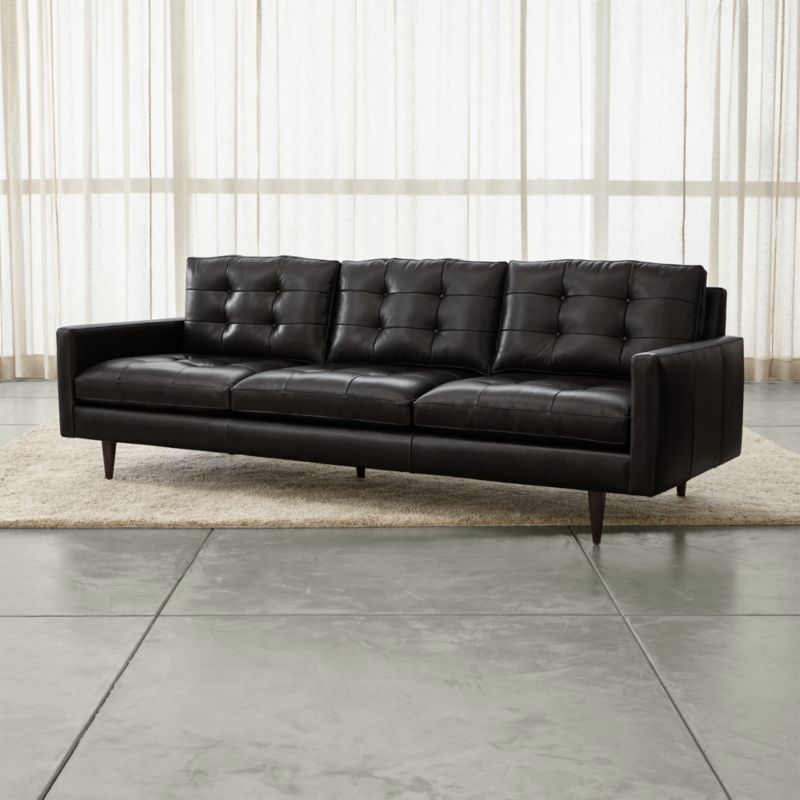 Petrie 100 Tufted Leather Sofa Reviews Crate and Barrel