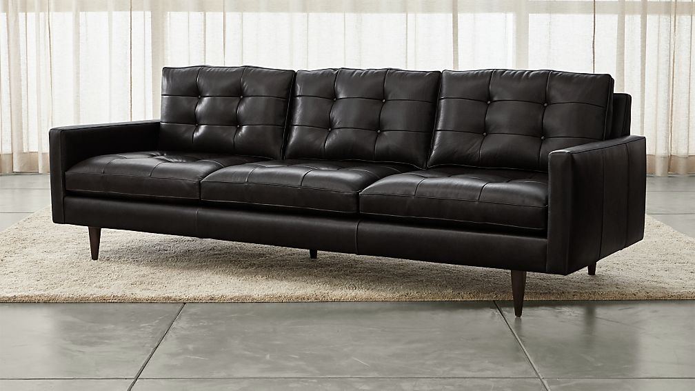 "Petrie Leather 100"" Grande Midcentury Sofa - Image 1 of 5"