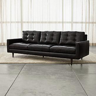 "Petrie Leather 100"" Grande Midcentury Sofa"