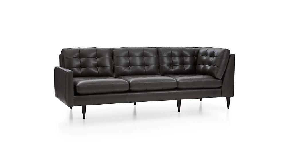 Petrie Leather Left Arm Corner Sofa