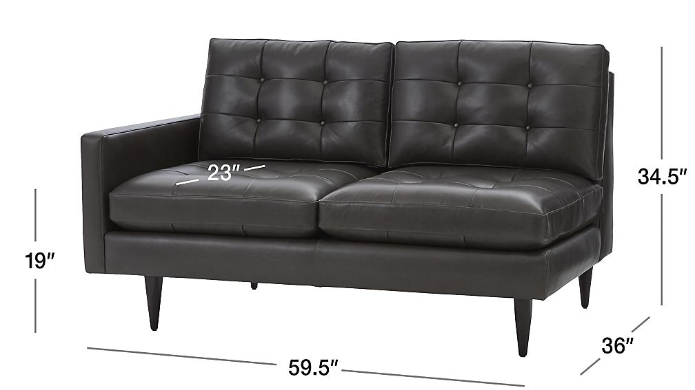 Petrie Leather Left Arm Loveseat Crate And Barrel