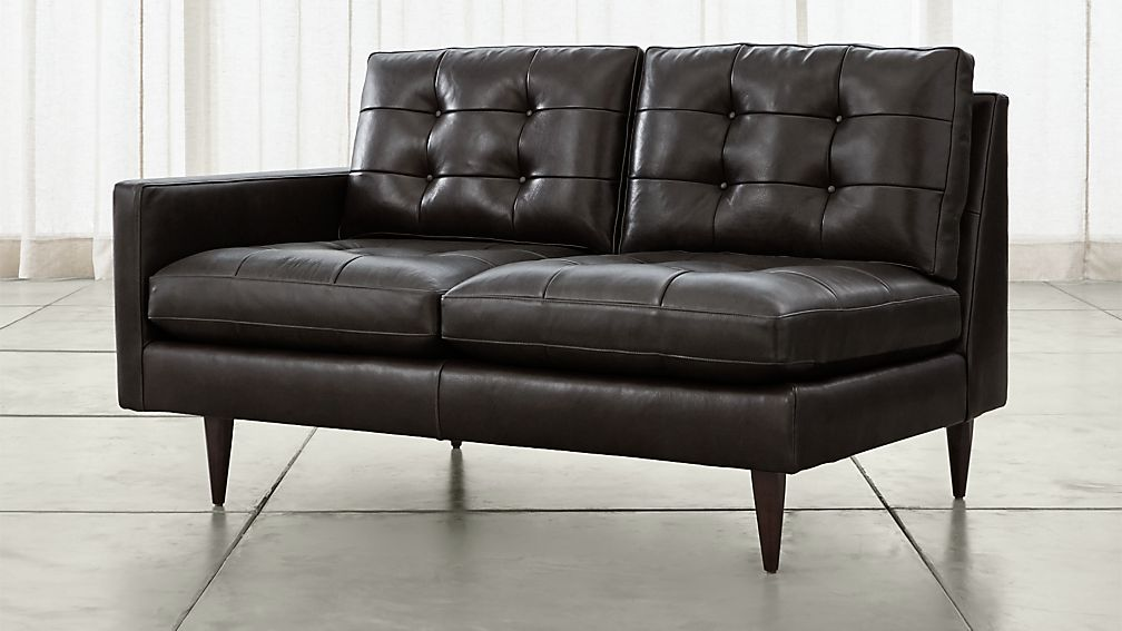 petrie leather left arm loveseat - Leather Couches For Sale