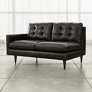 Petrie Leather Left Arm Loveseat