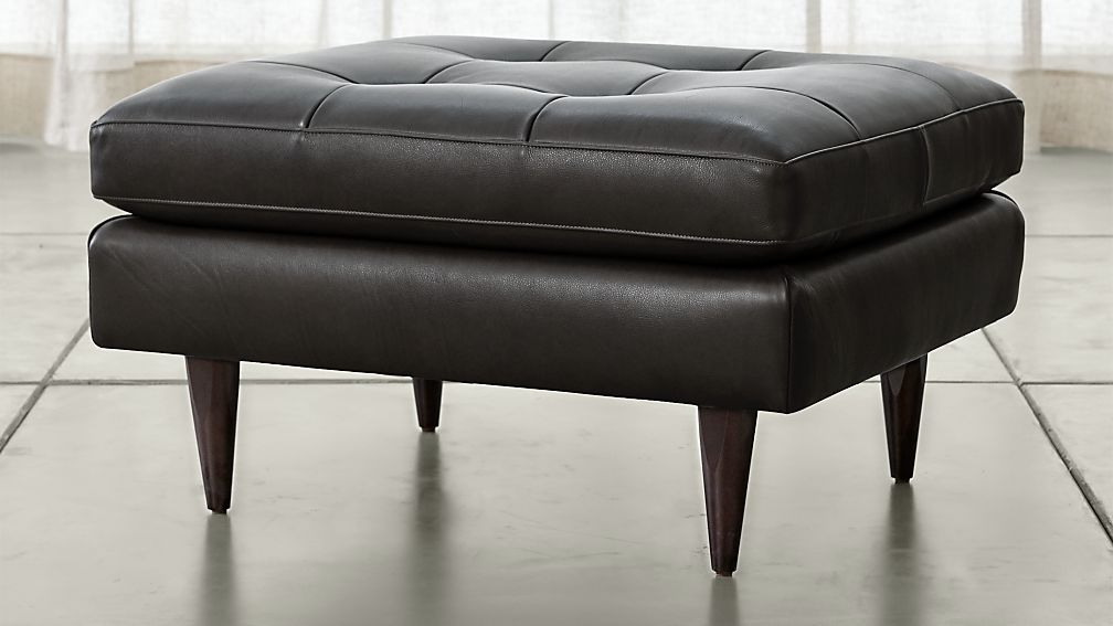 Petrie Leather Midcentury Ottoman - Image 1 of 3
