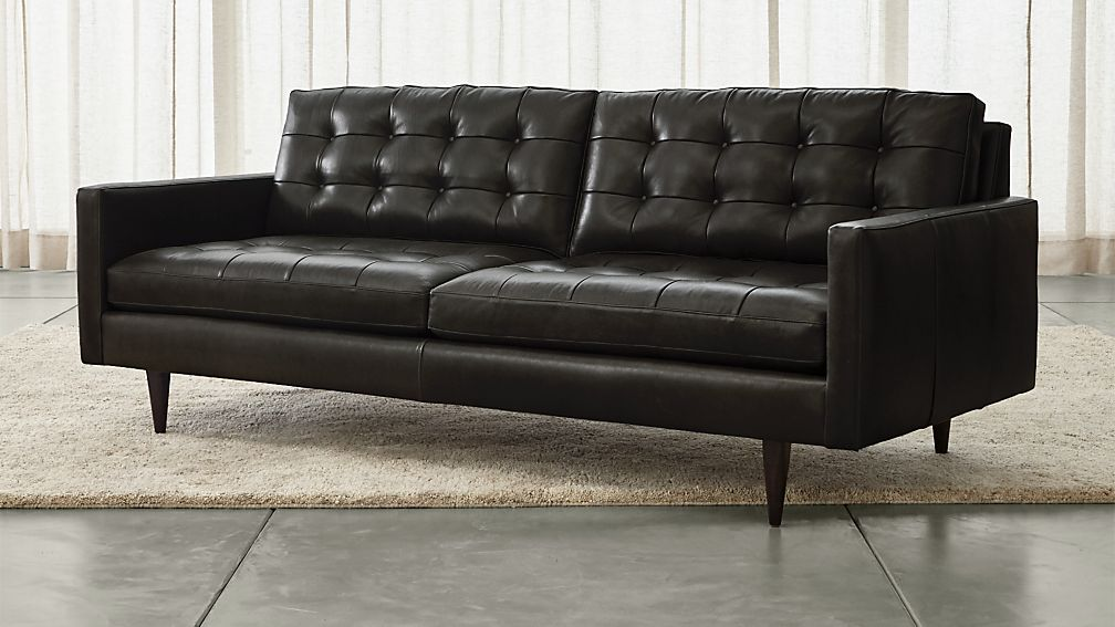 petrie black leather sofa crate and barrel. Black Bedroom Furniture Sets. Home Design Ideas
