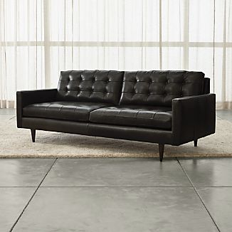 Petrie Leather Midcentury Sofa