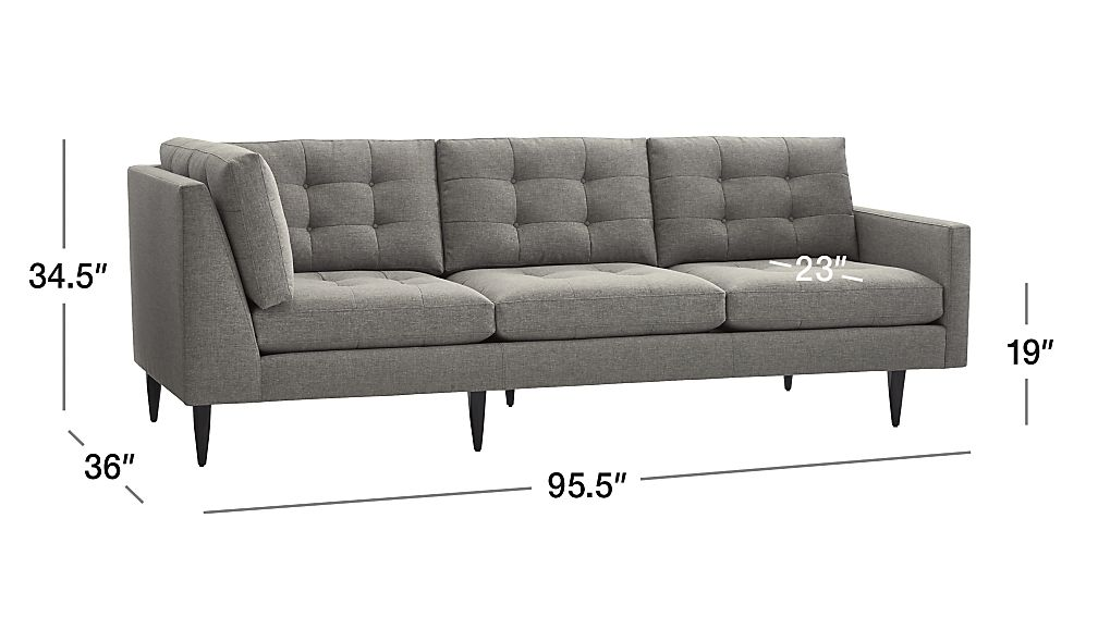 Bon TAP TO ZOOM Image With Dimension For Petrie Midcentury Right Arm Corner Sofa