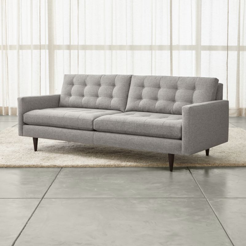 Petrie Long Grey Modern Tufted Sofa