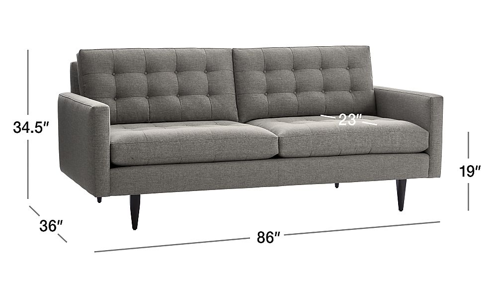 Image with dimension for Petrie Midcentury Sofa