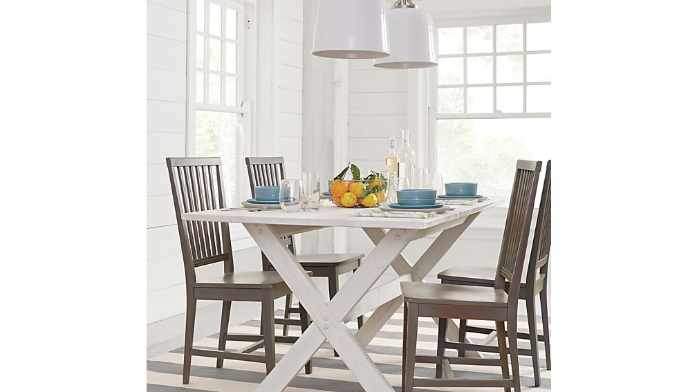 village grigio wood dining chair | crate and barrel