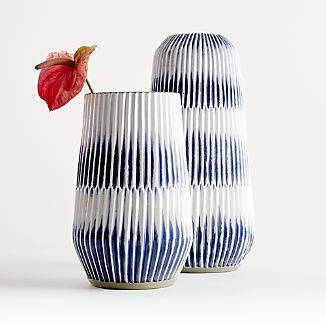 Piega Blue and White Vases