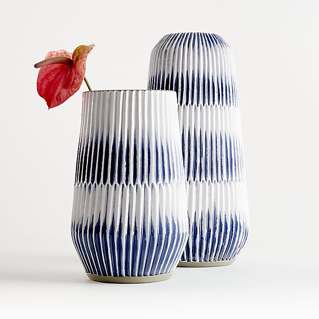 Piega Blue and White Vases - Image 1 of 10
