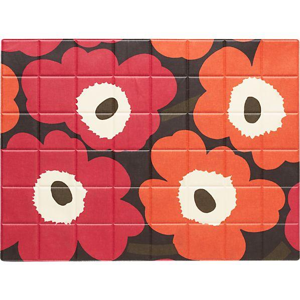 Marimekko Pieno Unikko Brown and Orange and Pink Oilcloth Placemat