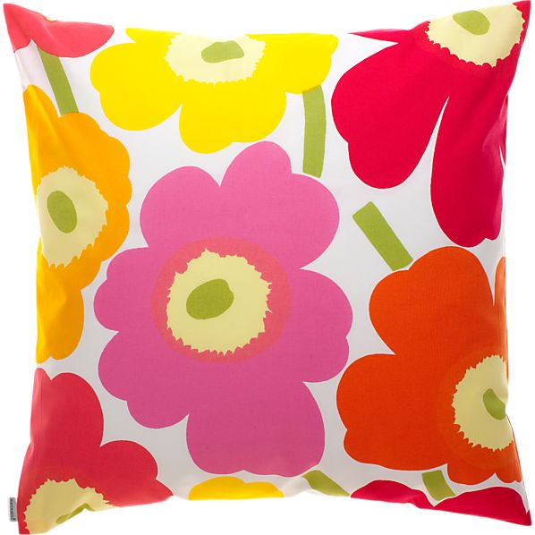 "Marimekko Pieni Unikko Pink and Orange 20"" Pillow"