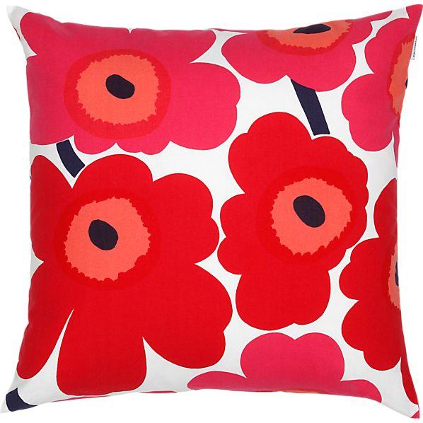 """Marimekko Pieni Unikko Red and White 20"""" Pillow"""