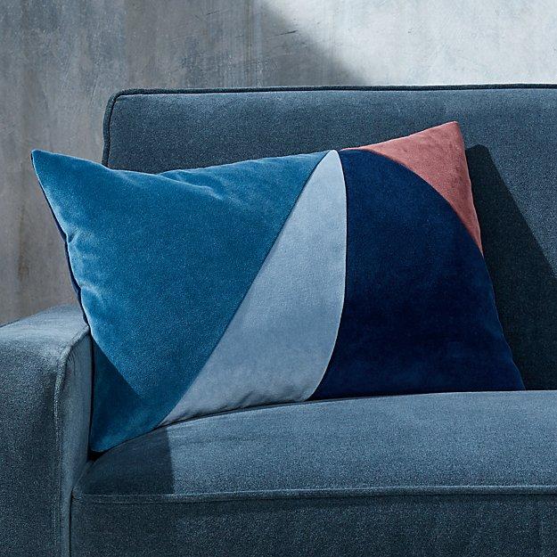 "Pieced Velvet Cool Pillow 22""x15"" - Image 1 of 5"