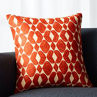 "Piet Orange 20"" Pillow with Down-Alternative Insert"
