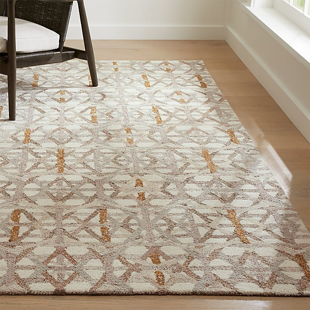 Pietro dune beige geometric rug crate and barrel for Geometric print area rugs