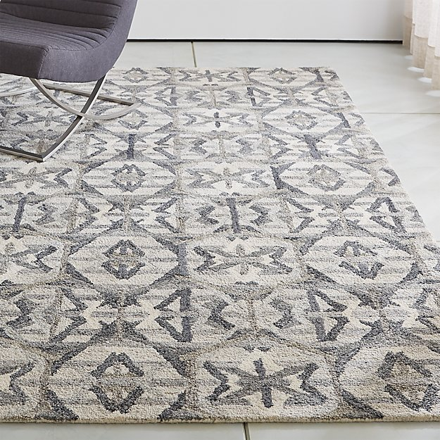 Pietro terrazzo grey geometric rug crate and barrel for Geometric print area rugs
