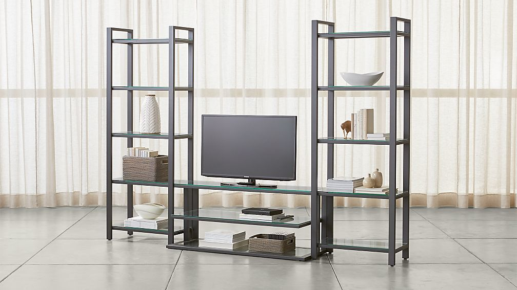 "Pilsen 52"" Graphite Media Console with 2 Bookcases - Image 1 of 3"