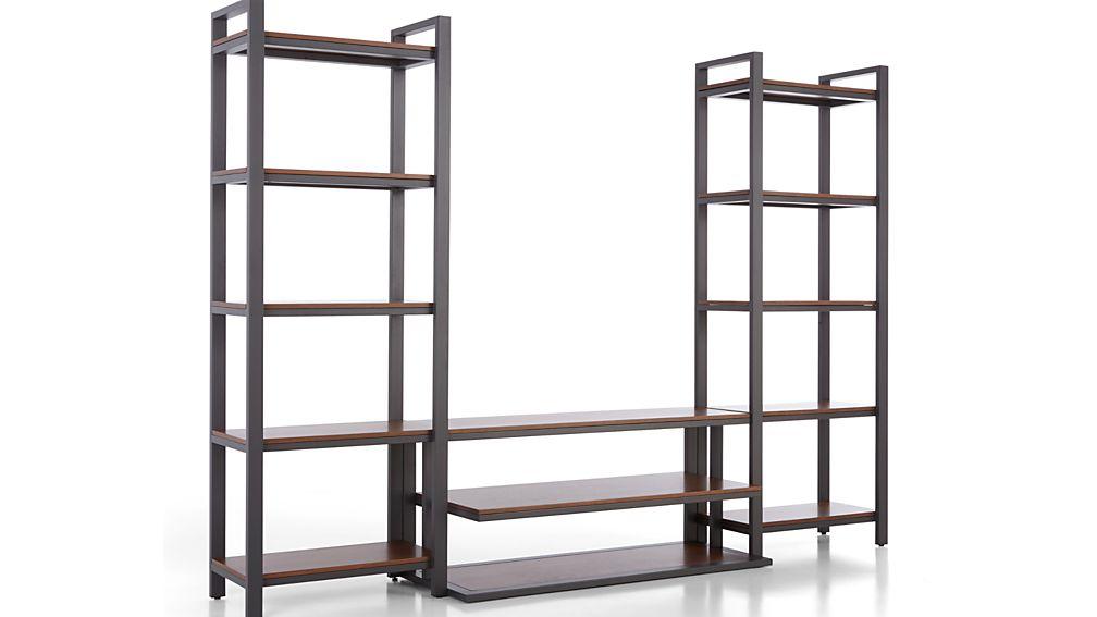 "Pilsen 52"" Graphite Media Console with 2 Walnut Bookcases"