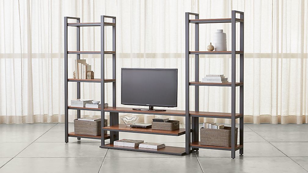 "Pilsen 52"" Graphite Media Console with 2 Walnut Bookcases - Image 1 of 2"